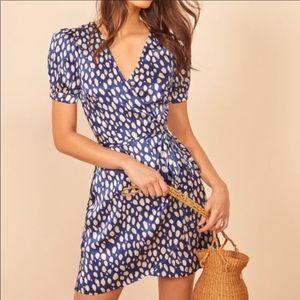 Reformation Honey Wrap Blue Lolita Silk Dress XS